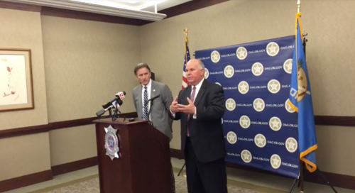 Oklahoma Attorney General Mike Hunter and state Auditor and Inspector Gary Jones at a press conference announcing the grand jury's findings.