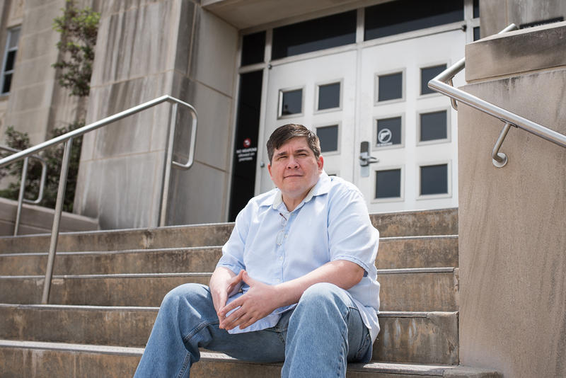 Oklahoma City resident Jeremy Brown, in front of the Cleveland County Courthouse, was arrested last year on various charges and entered the county's program for pretrial release without having to post bail.