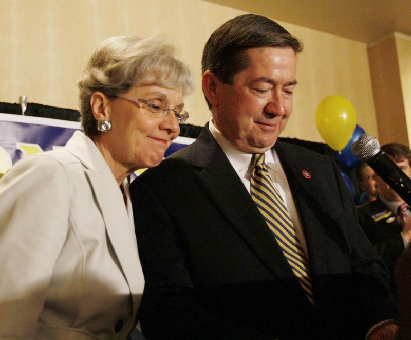 2010 Democratic Gubernatorial candidate, Oklahoma Attorney General Drew Edmondson, receives a hugs from his wife, Linda, after delivering his concession speech to supporters in Oklahoma City on Tuesday, July 27, 2010.