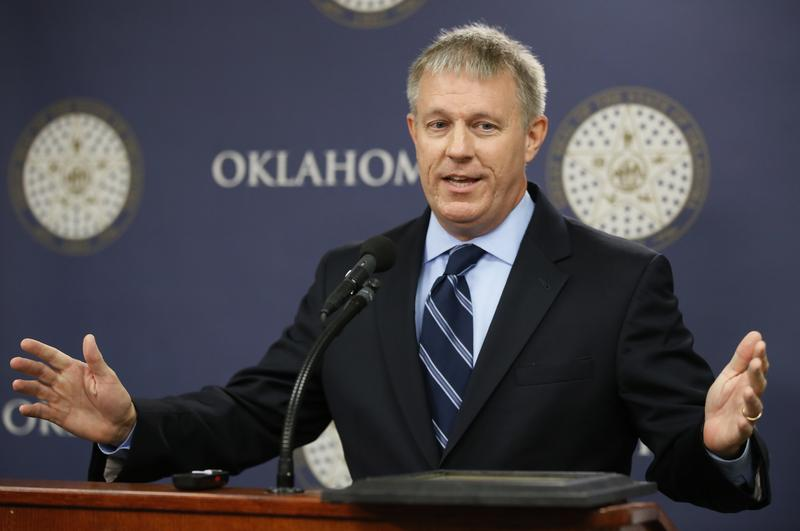 Oklahoma state Rep. Kevin Calvey, R-Oklahoma City, speaks during a news conference in Oklahoma City, Tuesday, July 19, 2016. Calvey is term-limited out of the House, and 12 Republicans are vying to replace him.