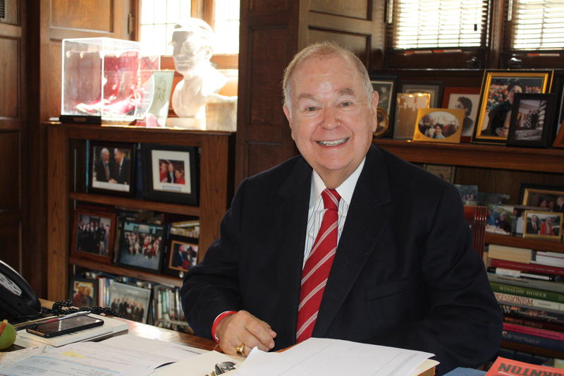 David Boren sits in his office at the University of Oklahoma in this picture taken on April 4, 2018.