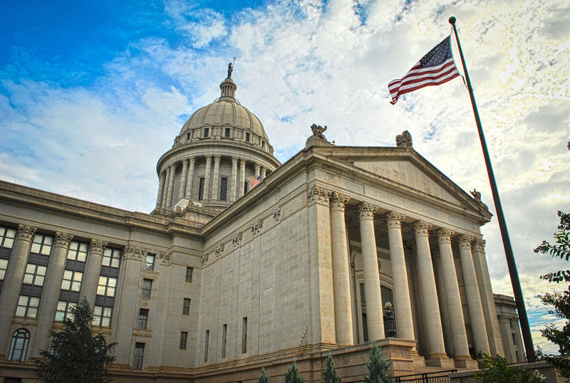 The Oklahoma State Capitol building photographed in 2009