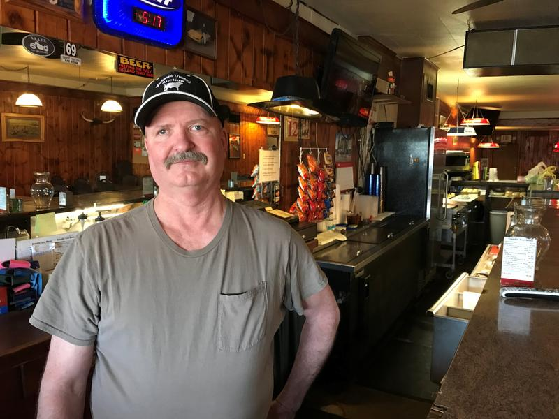 Roy Lenz, a retired farmer, owns the Brandin' Iron in Laverne, Oklahoma. His bar is in a dry county, so he can only serve low point beer.