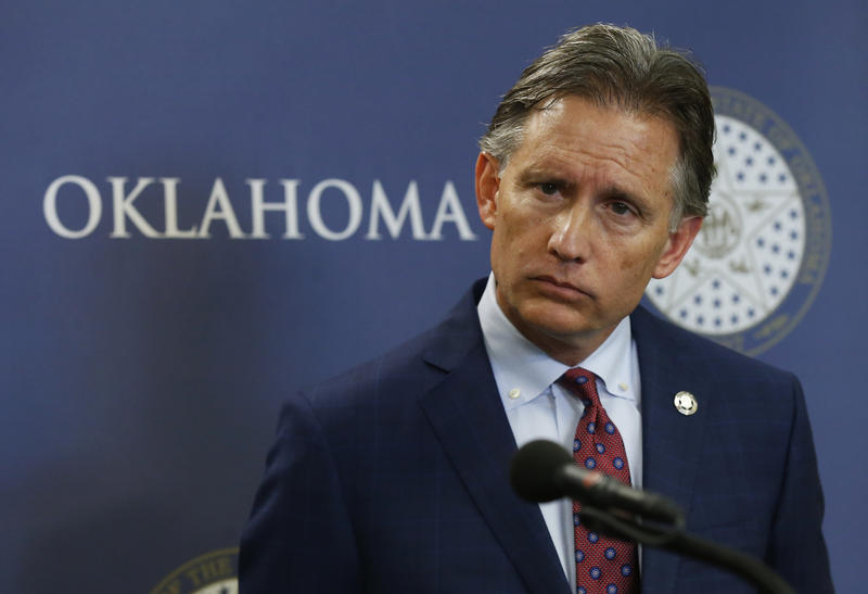 Oklahoma Attorney General Mike Hunter speaks at a news conference in Oklahoma City on July 13, 2018.