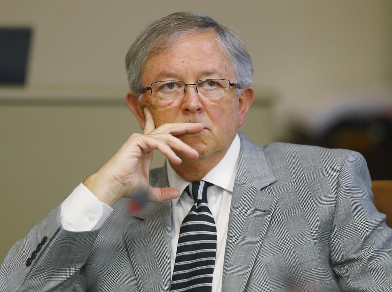 Oklahoma Ethics Commissioner John Hawkins is pictured during a meeting in Oklahoma City, Friday, Aug. 14, 2015.
