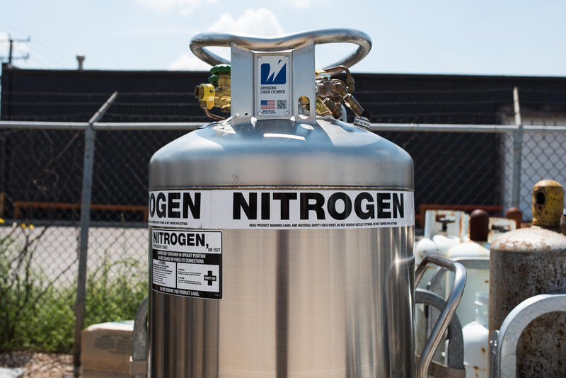 A tank filled with liquid nitrogen is seen outside of an Oklahoma City business that sells nitrogen for various commercial uses.