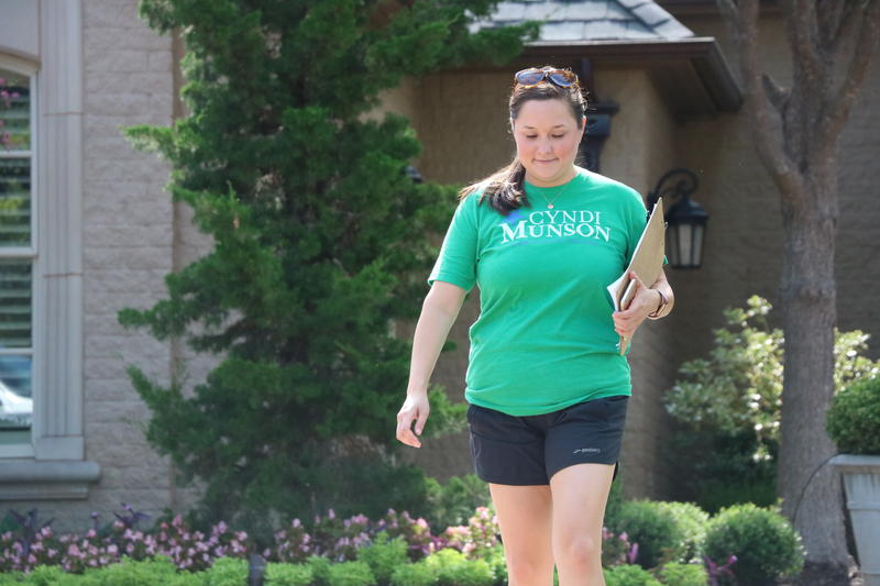 State Rep. Cyndi Munson walks door-to-door in Nichols Hills, Okla. as she campaigns for reelection.