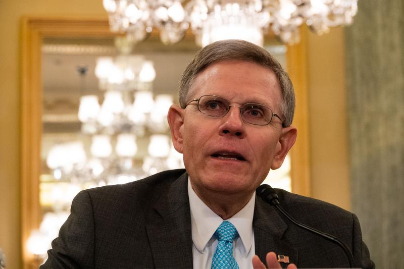 Kelvin Droegemeier responds to questions from senators during the Committee on Commerce, Science, and Transportation hearing on August 23.