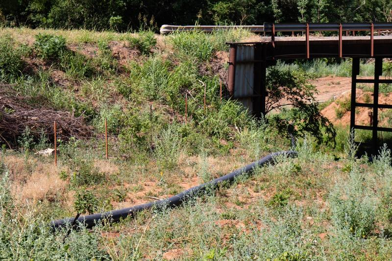 A temporary water line placed by an oil company in Custer County.