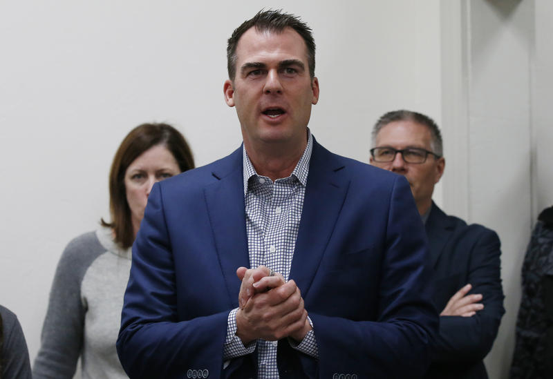 Kevin Stitt, candidate for the Republican nomination for Oklahoma Governor, speaks in Guthrie, Okla., Wednesday, Jan. 10, 2018.
