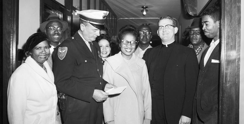 Clara Luper, (center), led the Oklahoma City civil rights sit-in movement