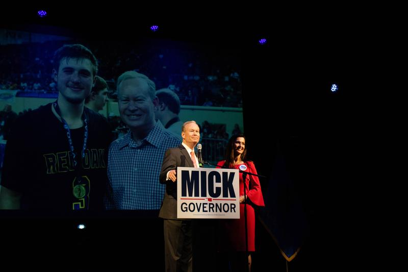 Former Mayor Mick Cornett stands with his wife Terry and thanks supporters after conceding the Republican gubernatorial runoff at his watch party in Oklahoma City.