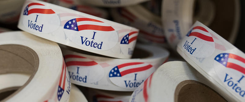 """I Voted"" stickers are seen at Oklahoma County Election Commission offices."