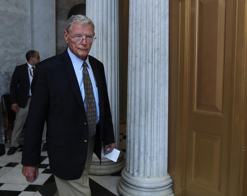 Sen. James Inhofe, R-Okla., leaves the Senate floor on Capitol Hill in Washington, Monday, July 17, 2017.
