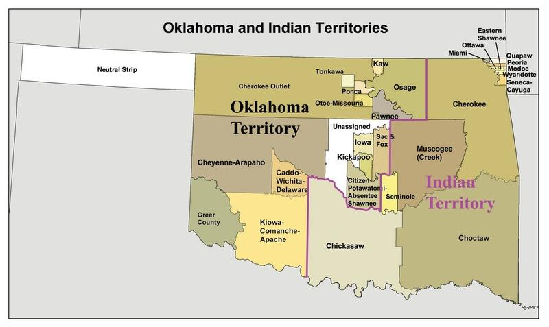 A historic map of Oklahoma and Indian Territories. Tribal land within the purple line belong to the Five Tribes.