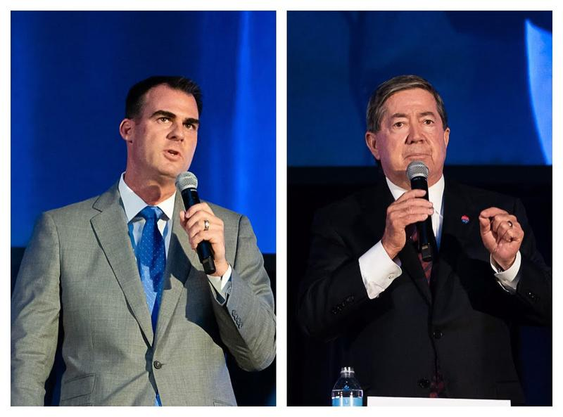 Gubernatorial candidates Kevin Stitt and Drew Edmondson are shown at an Aug. 24 forum in Oklahoma City sponsored by the Oklahoma State School Boards Association.