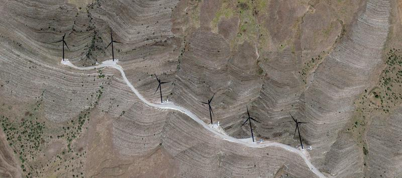 An aerial view of the Blue Canyon Wind Farm in southwestern Oklahoma.