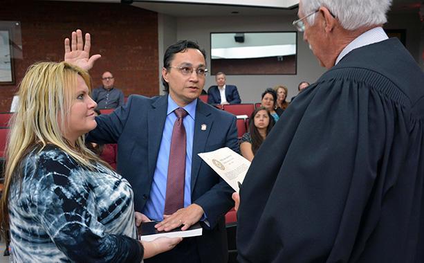 Cherokee Nation Secretary of State Chuck Hosin Jr.  was sworn into office in 2016.