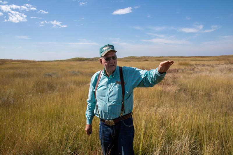 Stanley Barby shows off some of the best places to find prairie chickens on his ranch in the Oklahoma Panhandle.