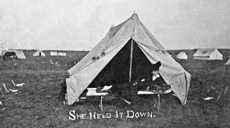 Woman on her claim in 1889.