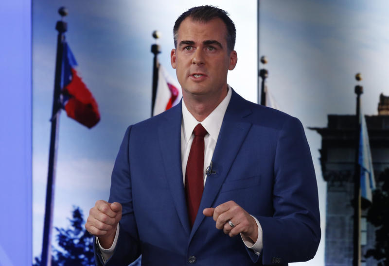 Oklahoma Republican candidate for Governor, Kevin Stitt, answers a question during a debate with Democratic candidate Drew Edmondson in Oklahoma City, Wednesday, Oct. 24, 2018.