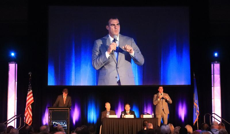 Republican gubernatorial candidate Kevin Stitt promotes his plan for education at the Oklahoma State School Boards Conference in Oklahoma City.