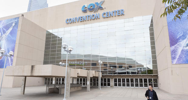 A man walks out of Cox Convention Center on Thursday in downtown Oklahoma City.