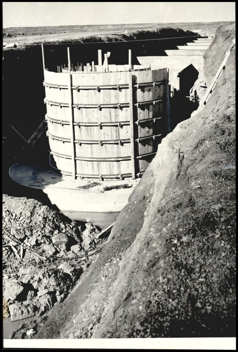 Foundation forms of the inlet tower at Bluff Creek Reservoir in 1941.