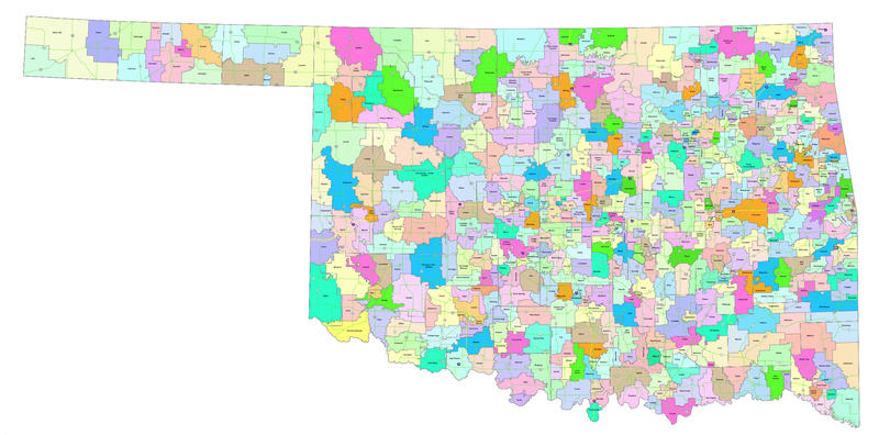 Oklahoma school districts 2018- 2019. Boundaries based on information provided by the Oklahoma Department of Education.