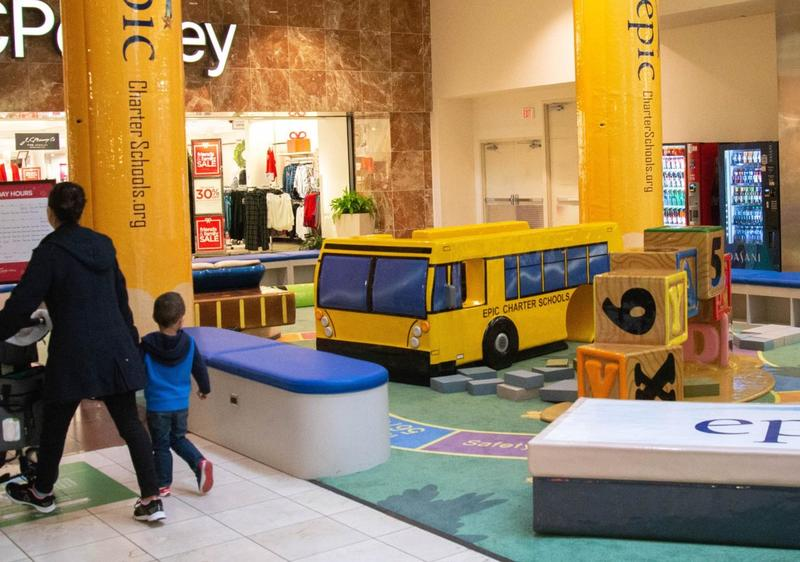Epic Virtual Charter School's dramatic growth has been driven in part by marketing efforts such as creating a children's play area at Penn Square Mall in Oklahoma City.