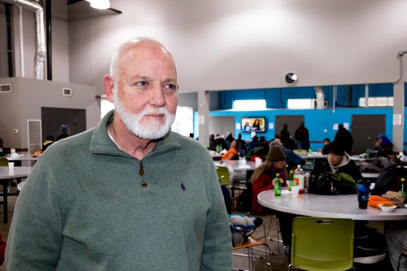 Dan Straughan, executive director of the Homeless Alliance stands in their day shelter in Oklahoma City during lunch. If the Medicaid work requirements are approved, it will mean more administrative costs for non-profits like his, which connects homeless