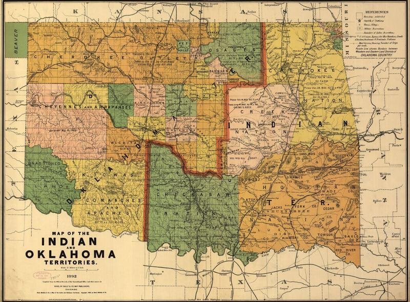 This 1892 map of Oklahoma shows Indian territory was reduced to roughly half the state through the Organic Act of 1890.