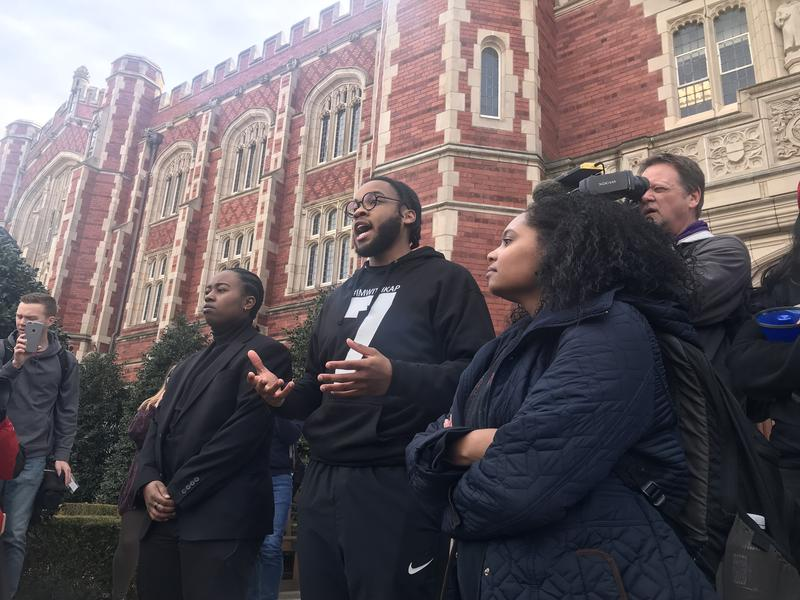 University of Oklahoma junior and Black Student Association member Miles Francisco speaks at a rally on the OU campus Thursday.