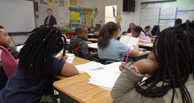 Students inside Shannon Dragoo's third-grade class at Thelma Reece Parks Elementary School in Oklahoma City.