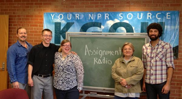 The Assignment: Radio reunion. Jim Johnson, Brian Hardzinski (also a previous host of the show), Meredith Everitt, Karen Holp and Arash Davari.