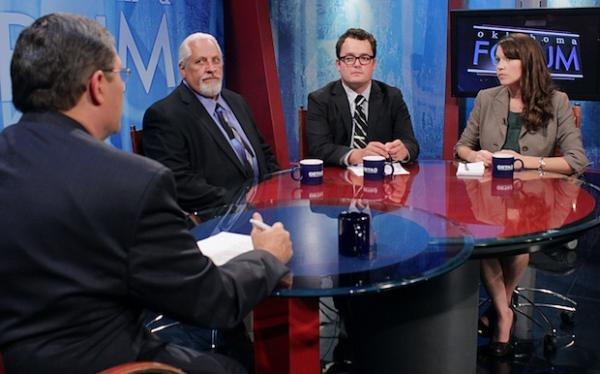 From left: Dick Pryor and Bob Sands with OETA, StateImpact's Joe Wertz and the Journal Record's Sarah Terry-Cobo.