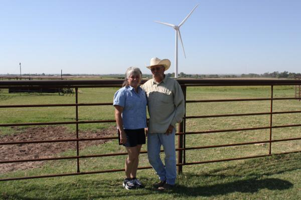 Tammy and Rick Huffstutlar's home near Calument, Okla., is surrounded by the Canadian Hills Wind Farm. The couple says they're considering moving because of the constant noise and shadow flicker.