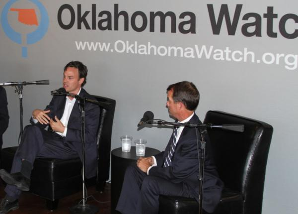 Andrew Rice, executive director of Variety Care Foundation, and Terry Cline, Oklahoma commissioner of health, discuss the Affordable Care Act at Oklahoma Watch-Out.