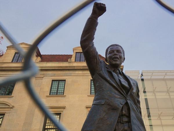 The statue of Nelson Mandela outside the site of the South African Embassy, Washington, D.C.