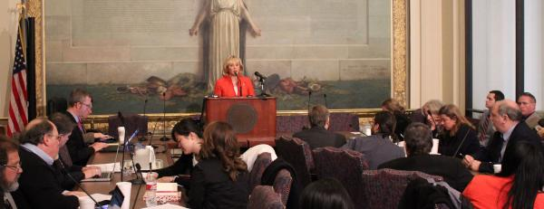 Gov. Mary Fallin addresses reporters during an Associated Press Legislative Forum at the State Capitol - January 29, 2013.