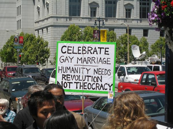 A sign supporting gay marriage in California on the first day same-gender couples could legally marry there.