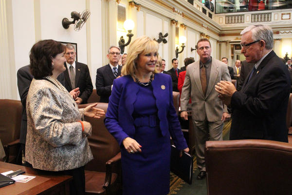 Gov. Mary Fallin enters the House chamber of the state capitol shortly before delivering her State of the State address February 3, 2014.
