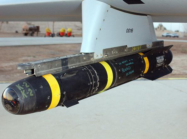 An AGM-114 Hellfire missile hung on the rail of an U.S. Air Force MQ-1L Predator Unmanned Aerial Vehicle (UAV).