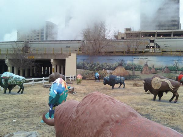 The buffalo corral near Bricktown, Oklahoma City.