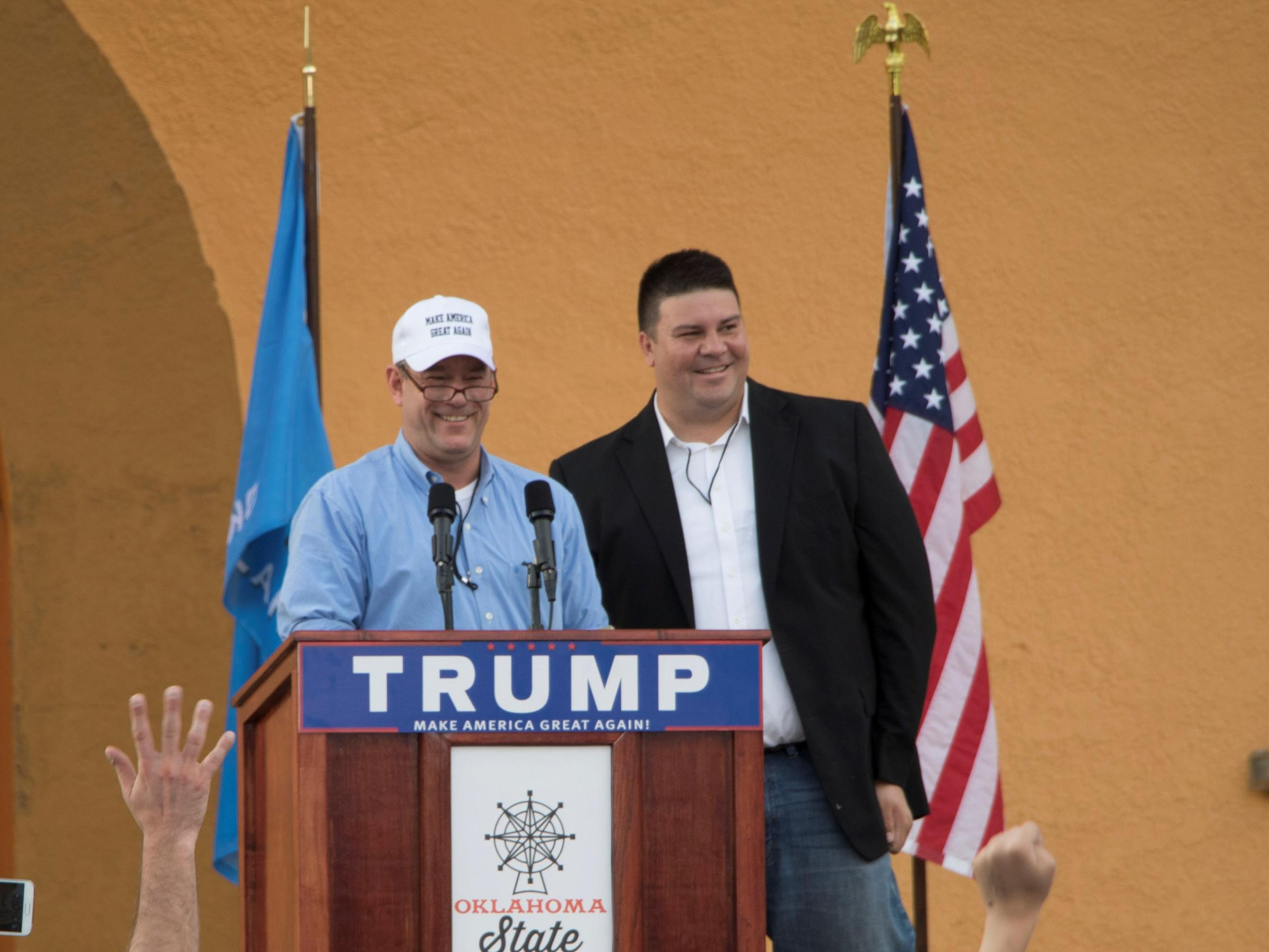 Ralph Shortey (R-Oklahoma City) appeared onstage shortly before a Donald  Trump rally in Oklahoma City on Sept. 25, 2015.