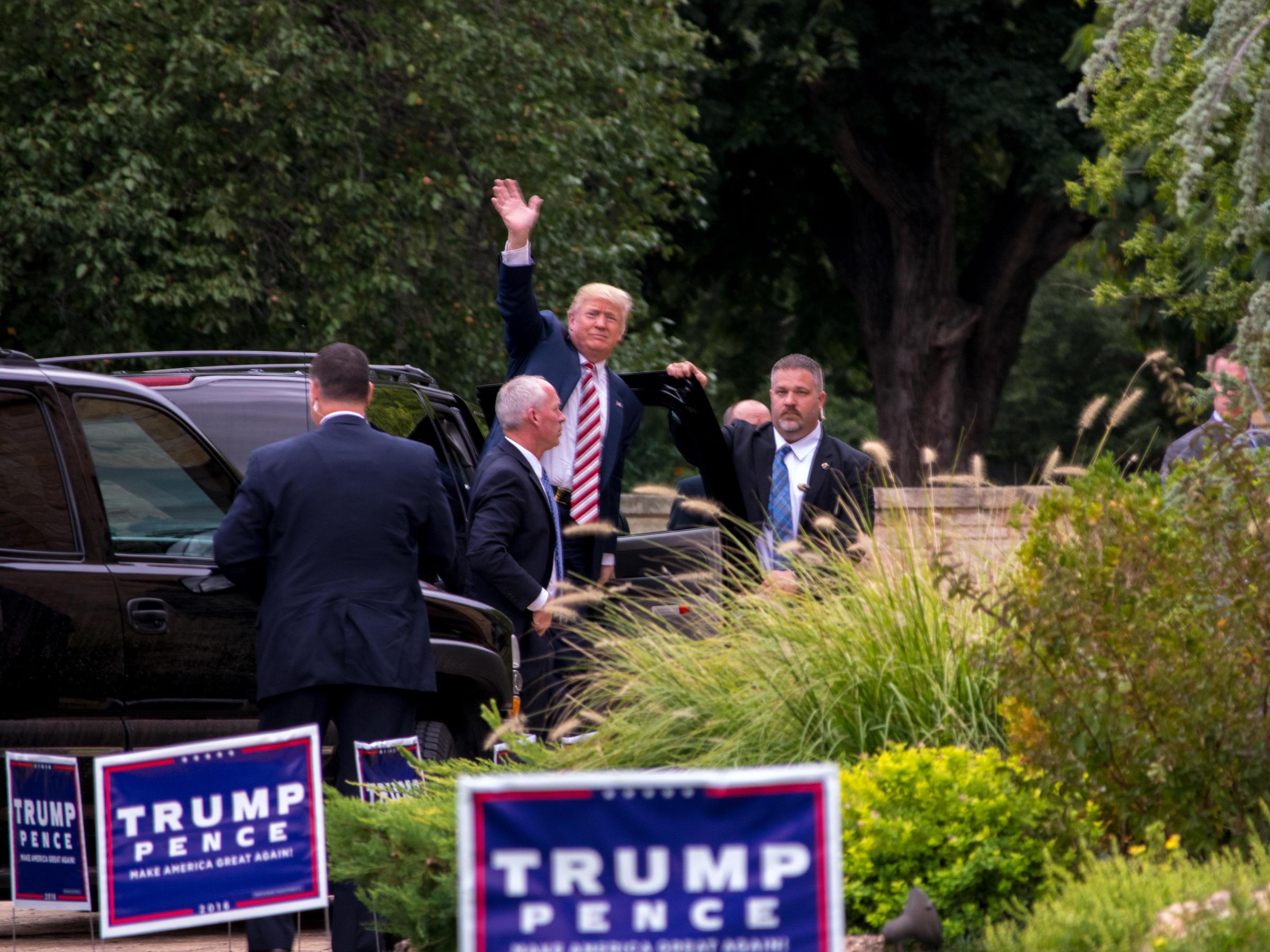 SLIDESHOW Dozens Protest Trumps Norman Fundraiser Before Heavy