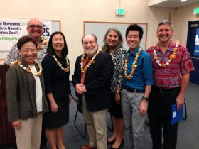 (Left to Right)  Department of Education superintendent Kathryn Matayoshi, Hawai'i Pacific Health Senior VP John La Forgia, Hawai'i P-20 executive director Karen Lee, Governor Neil Abercrombie, Executive Office on Early Learning director GG Weisenfeld, UH Student Caucus chair Richard Mizusawa and Interim UH President David Lassner, announced the state's higher education goals.