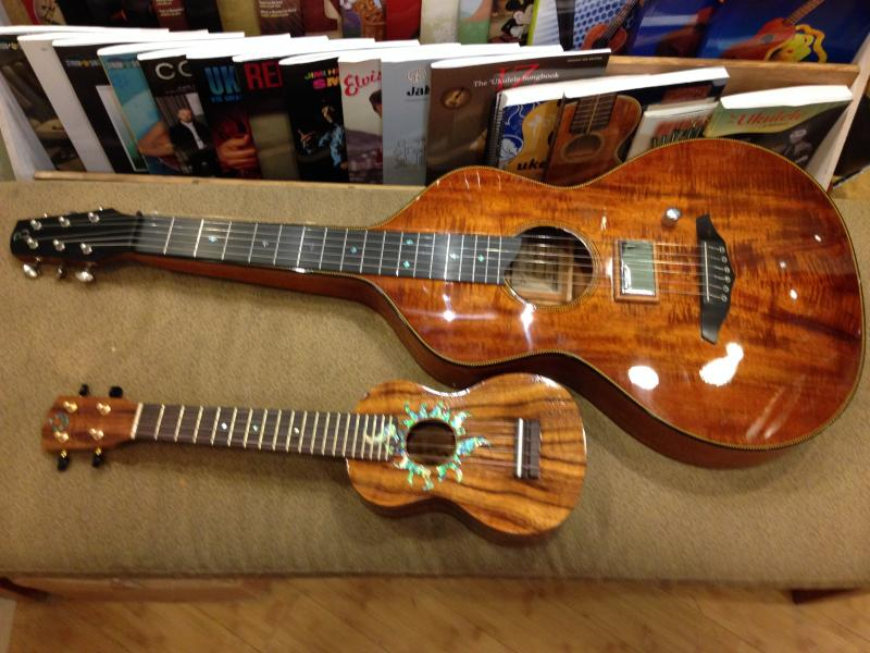 G-String ukulele, $1,510 and Bowerman Koa steel guitar, $5,250.