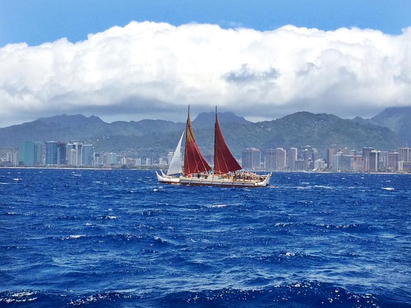 Hōkūleʻa Image ® Polynesian Voyaging Society. Credit Molly Solomon