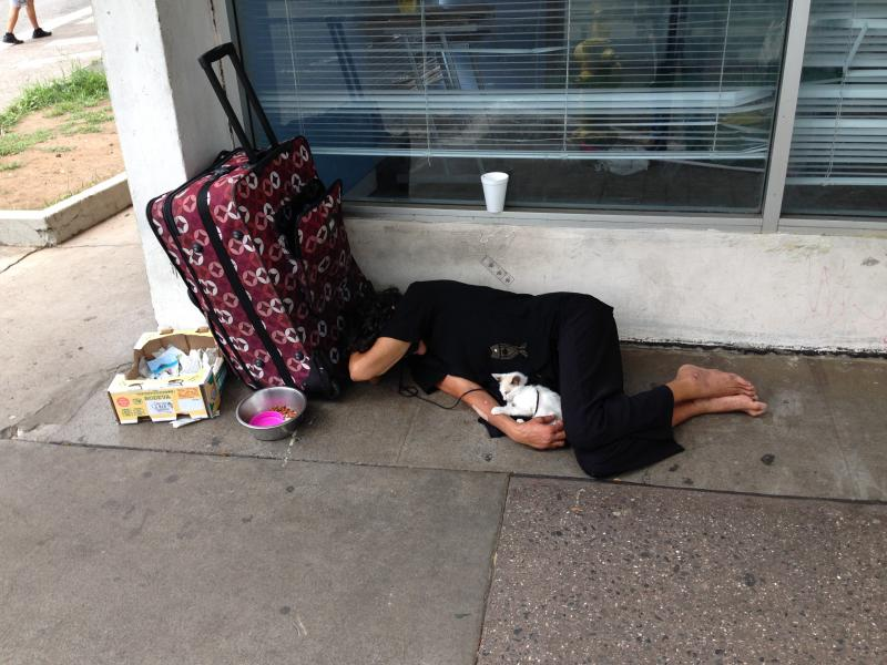 Homeless person sleeping on Pauahi Street